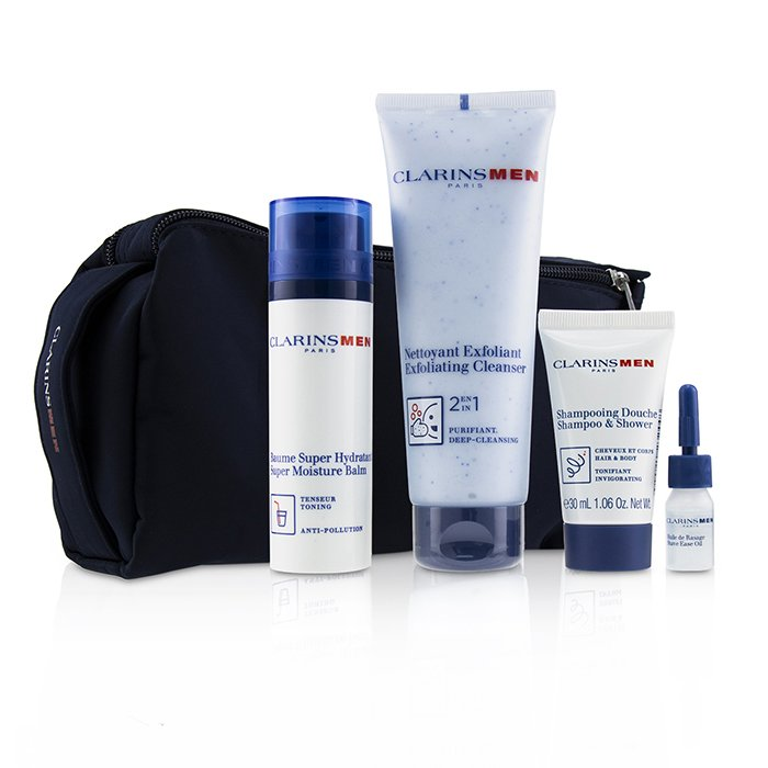 Clarins Men Everyday Heroes Set: 1x Exfoliating Cleanser 125ml + 1x Super Moisture Balm 50ml + Shampoo & Shower 30ml + Shave Ease 3ml 4pcs