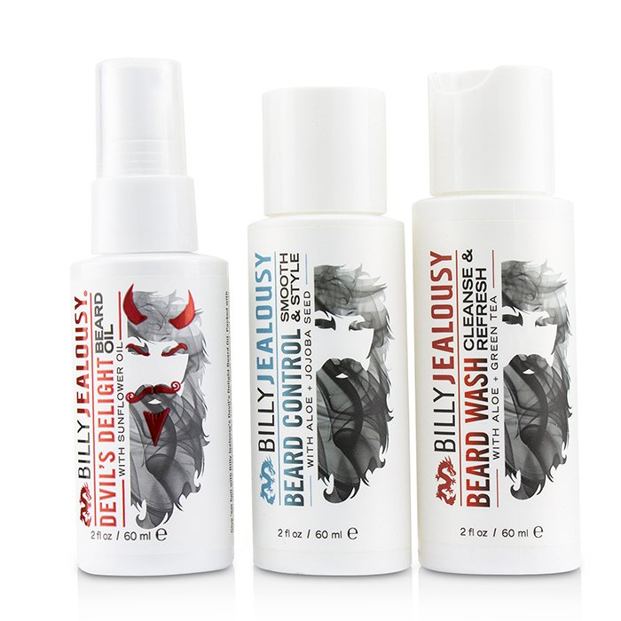 Billy Jealousy Wicked Beard Care Trio Set : 1x Beard Wash 60ml + 1x Beard Control 60ml + 1x Beard Oil 60ml 3pcs
