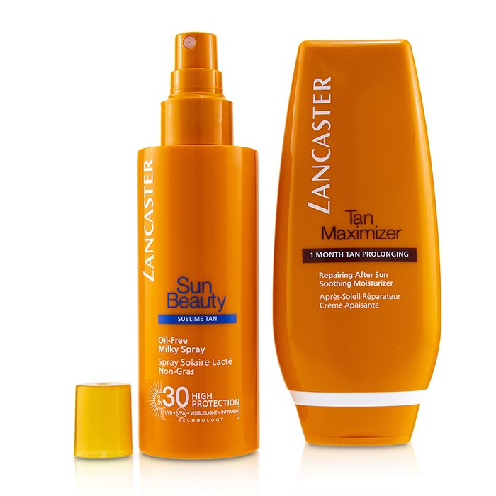 Lancaster Your Suncare Routine For A Legendary Goldan Tan Set: Oil-Free Milky Spray SPF 30 150ml + Tan Maximizer After Sun 125ml 2pcs
