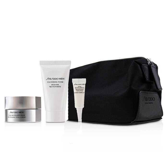 Shiseido Men Total Age-Defense Program Set: 1xTotal Revitalizer Cream 50ml+1xCleansing Foam 30ml+1xTotal Revitalizer Eye 3ml+1xPouch 4pcs