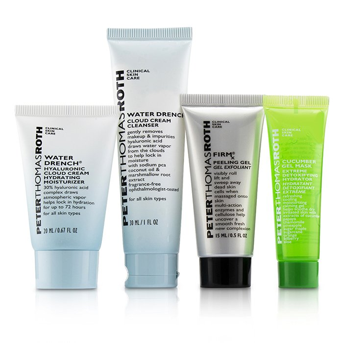 Peter Thomas Roth Jet, Set, Facial ! 4-Piece Kit: 1x Cleanser 30ml + 1x Moisturizer 20ml + 1x Cucumber Gel Mask 14ml + 1x Peeling Gel 15ml 4pcs