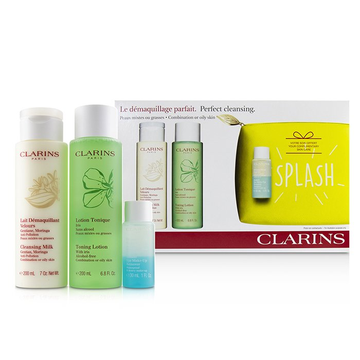 Clarins Perfect Cleansing Set (Combination or Oily Skin): Cleansing Milk 200ml+ Toning Lotion 200ml+ Eye Make-Up Remover 30ml+ Bag 3pcs+1bag