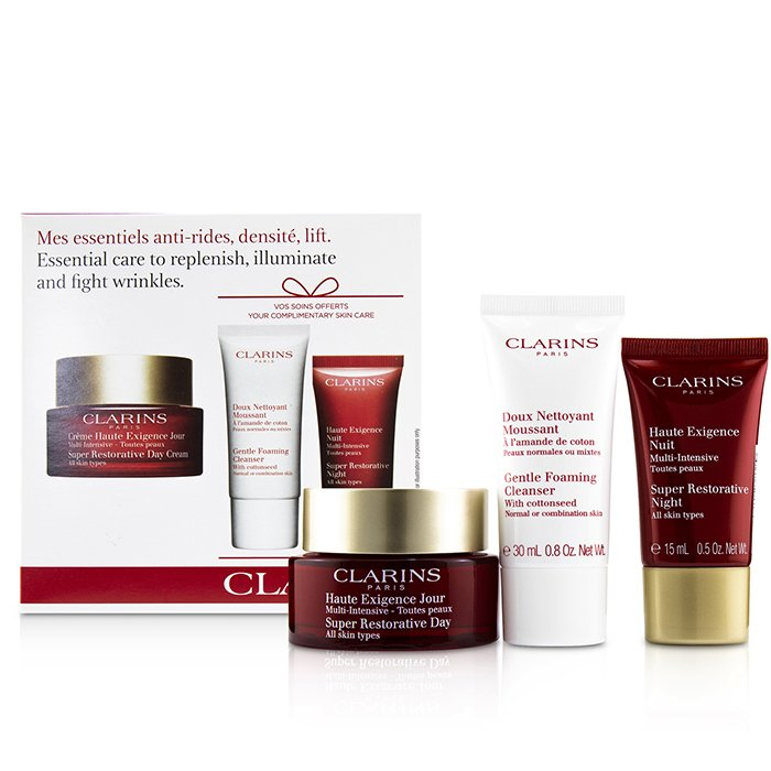 Clarins Super Restorative Essential Care Set: Day Cream 50ml/1.7oz + Night Cream 15ml/0.5oz + Gentle Foaming Cleanser 30ml/0.8oz 3pcs