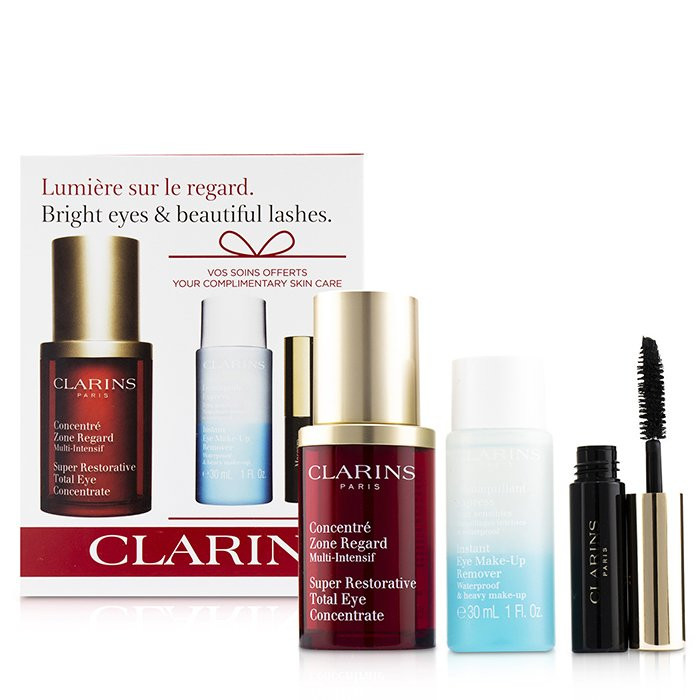 Clarins Restoring Eye Wonders Set: Super Restorative Eye 15ml + Instant Make-Up Remover 30ml + Mascara Super Volume 3.5ml 3pcs