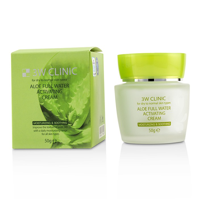 3W Clinic Aloe Full Water Activating Cream - For Dry to Normal Skin Types 50g
