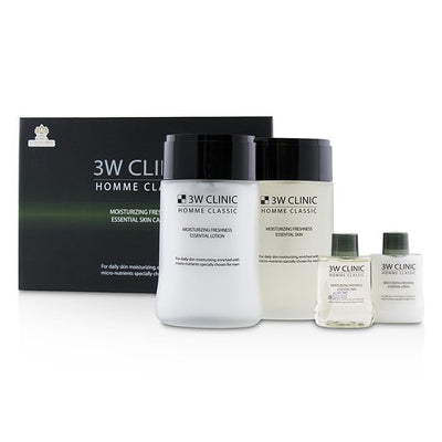 3W Clinic Homme Classic - Moisturizing Freshness Essential Skin Care Set: Essential Skin 150ml+30ml + Essential Lotion 150ml+30ml 4pcs