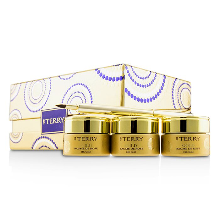 By Terry 24K Gold Baume De Rose Trio Deluxe Lip Balm Jewels (1x White Gold 10g, 1x Gold 10g, 1x Rose Gold 10g) 3x10g