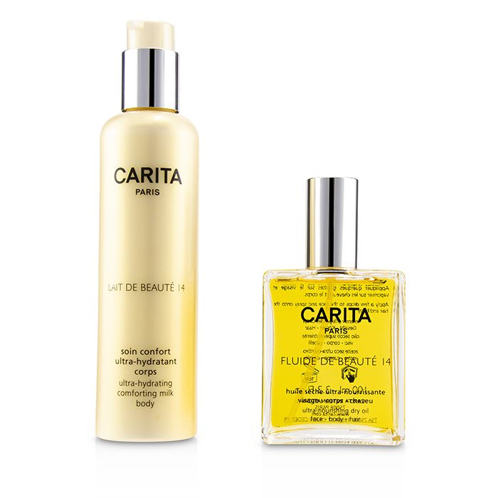 Carita Fluide De Beaute 14 Set : Ultra-Nourishing Dry Oil 100ml/3.3oz + Ultra-Hydrating Comforting Body Milk 200ml/6.7oz 2pcs