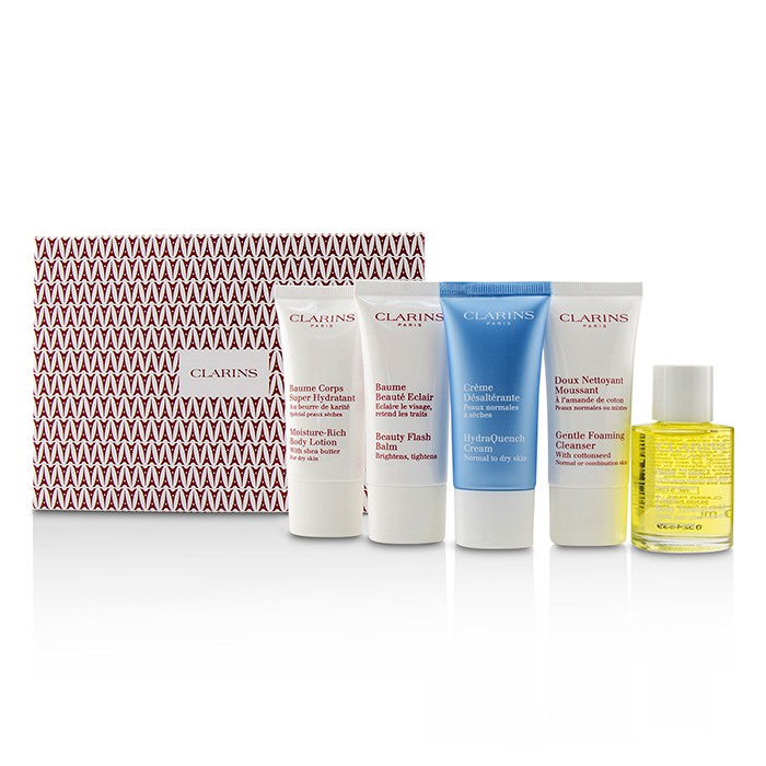 Clarins French Beauty Box: 1x Cleanser 30ml, 1x HydraQuench Cream 30ml, 1x Beauty Flash Balm 30ml, 1x Body Treatment Oil, 1x B/L 5pcs