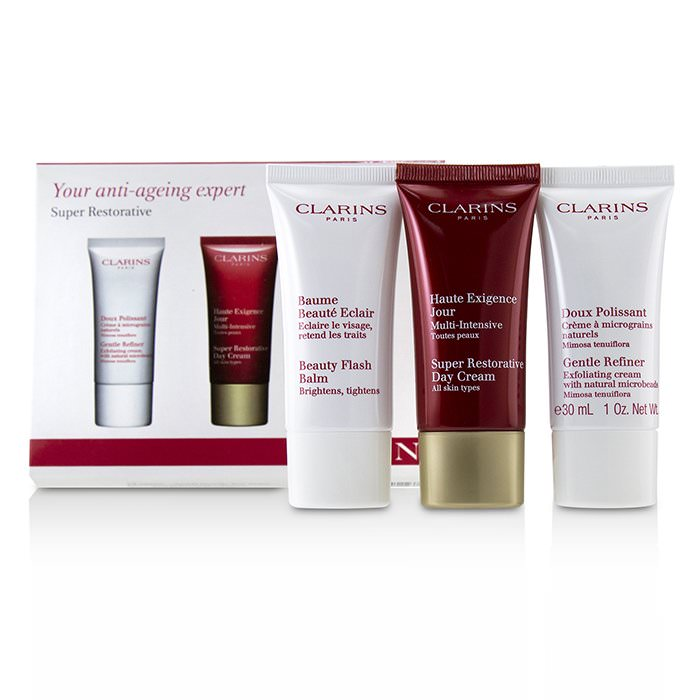 Clarins Super Restorative 50+ Anti-Ageing Skincare Set: Gentle Refiner 30ml+Super Restorative Day Cream 30ml+Beauty Flash Balm 30ml 3pcs