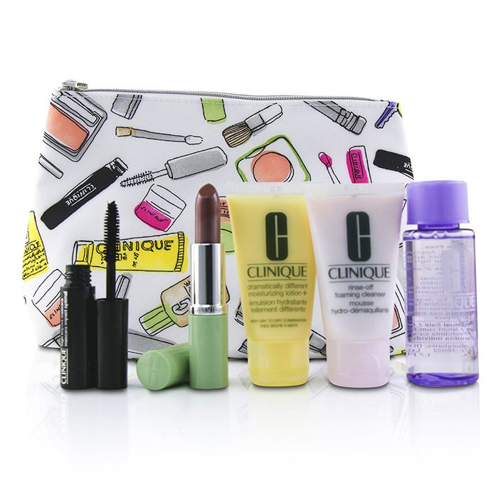 Clinique Bonus Travel Set: M/U Remover 50ml+ Foaming Cleanser 30ml+ DDML+ 30ml+ High Impact Mascara 3.5ml+ Long Last Lipstick 3.8g+ Bag 5pcs+1bag