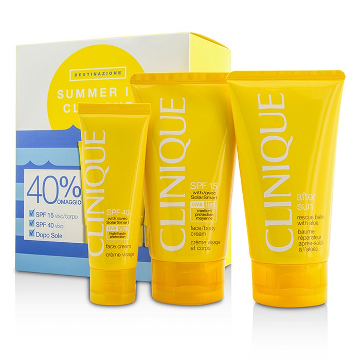 Clinique Summer In Clinique Coffret: Face Cream SPF 40 50ml+ Face/Body Cream SPF 15 150ml + After Sun Rescue Balm With Aloe 150ml 4pcs