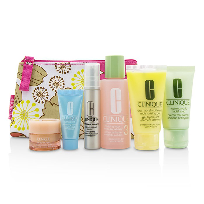 Clinique Travel Set: Facial Soap 30ml+Lotion 3 60ml+DDMG 30ml+Smart Serum 10ml+Turnaround Serum 7ml+All About Eyes 7ml+Bag 6pcs+1bag