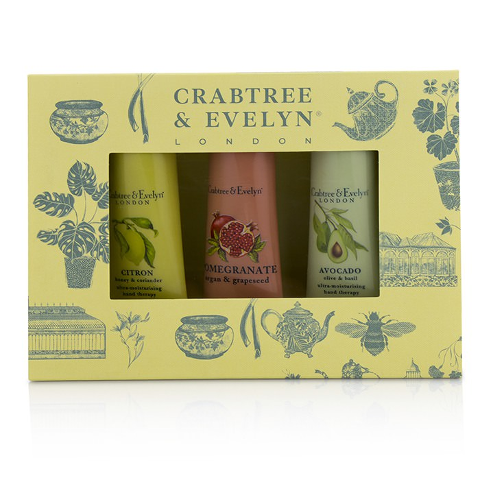 Crabtree & Evelyn Botanicals Hand Therapy Set (1x Citron, Honey & Coriander, 1x Pomegranate, Argan & Grapeseed, 1x Avocado, Olive & Basil) 3x25g