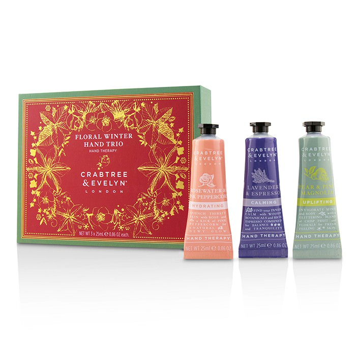 Crabtree & Evelyn Floral Winter Hand Trio (1x Lavender & Espresso, 1x Rosewater & Pink Peppercorn, 1x Pear & Pink Magnolia) 3x25ml