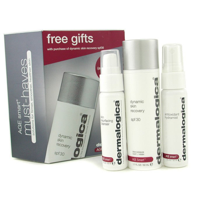 Dermalogica Age Smart Travel Set: Dynamic Skin Recovery + Skin Resurfacing Cleanser + Antioxidant HydraMist 3pcs