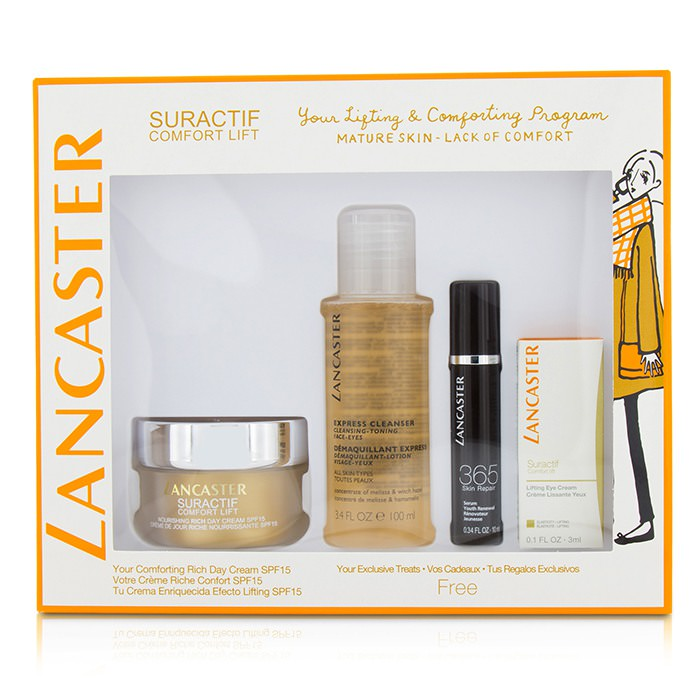 Lancaster Suractif Comfort Lift Rich Set: Rich Day Cream 50ml+ Serum Youth Renewal 10ml+ Lifting Eye Cream 3ml+ Express Cleanser 100ml 4pcs