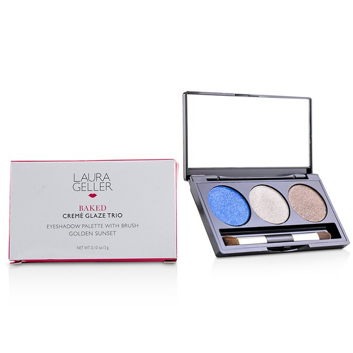 Laura Geller Baked Cream Glaze Trio Eyshadow Palette With Brush - # Sandy Lagoon 3g