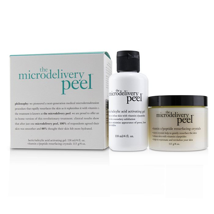 Philosophy The Microdelivery Peel: Lactic/Salicylic Acid Activating Gel 118ml + Vitamin C/Peptide Resurfacing Crystals 2pcs