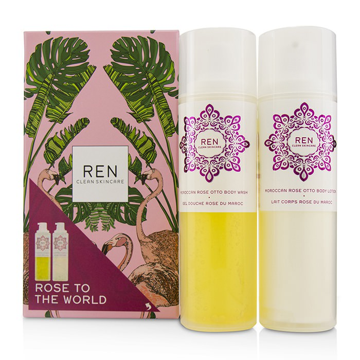 Ren Rose To The World Moroccan Rose Otto Set: Body Wash 200ml + Body Lotion 200ml 2pcs