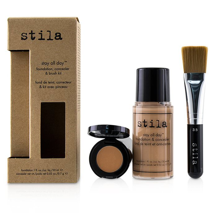Stila Stay All Day Foundation, Concealer & Brush Kit - # 4 Beige 2pcs