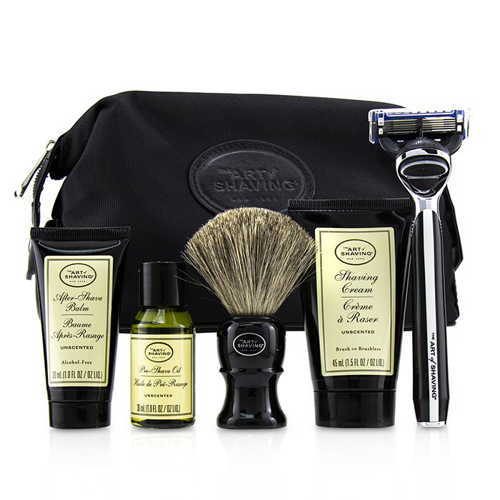 The Art Of Shaving The Four Elements of The Perfect Shave Set with Bag - Unscented: Pre Shave Oil + Shave Crm + A/S Balm + Brush + Razor 5pcs+1Bag