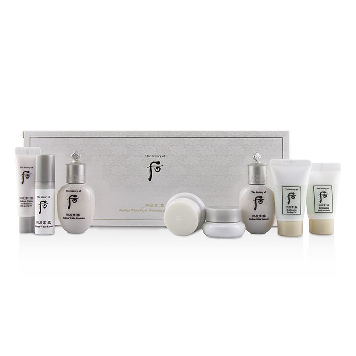 Whoo (The History Of Whoo) Gongjinhyang Seol Radiant Whitening 8 pcs Gift Set: Balancer + Emulsion + Essence + Moisture Cream + Ultimate Corrector +Sun. 8pcs