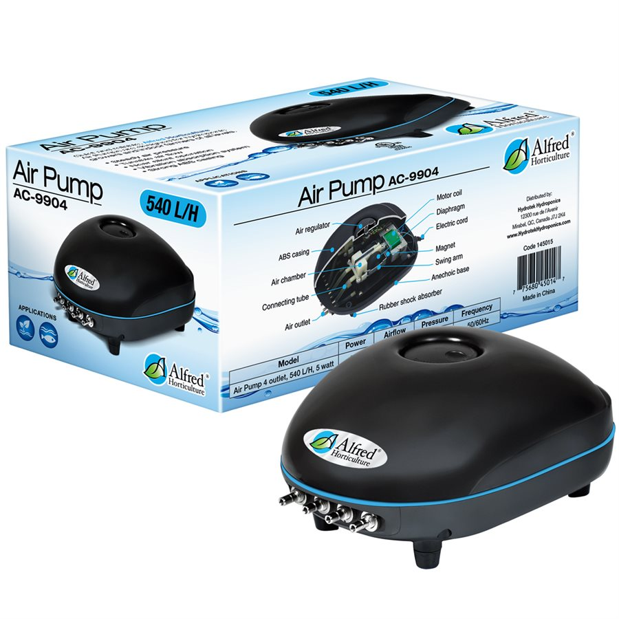 Alfred Hydroponic Air Pump 4 Outlets 540L / H 5W
