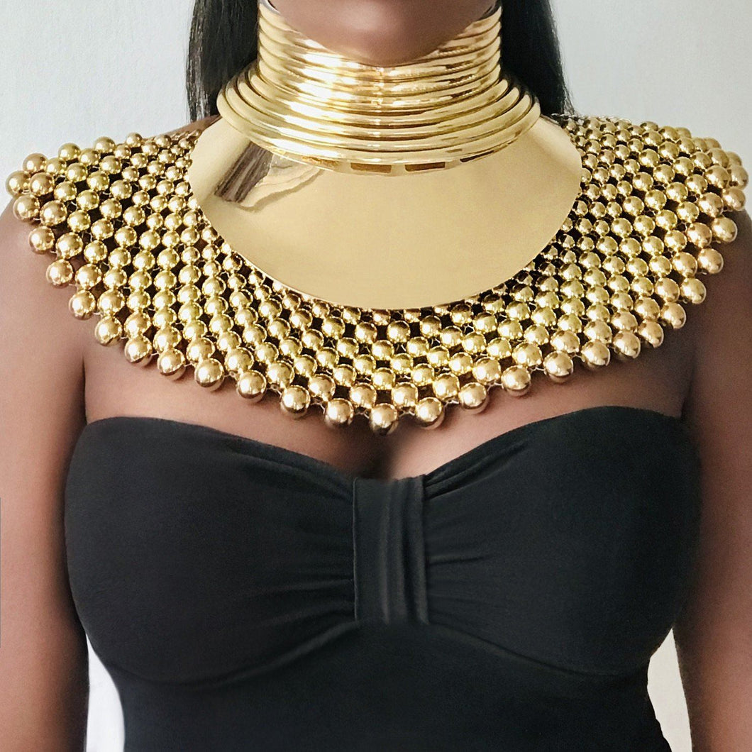 FAYOUM African Statement Maxi Beaded Choker Necklace