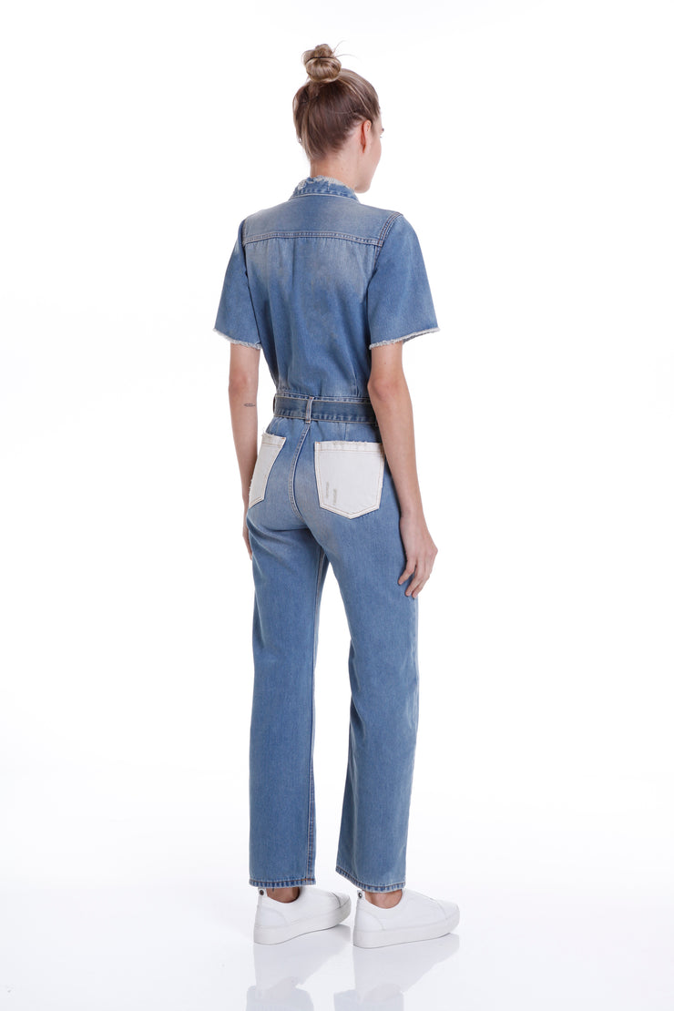 CROSBY STRAIGHT JUMPSUIT - MEDIUM DENIM - John John Lab
