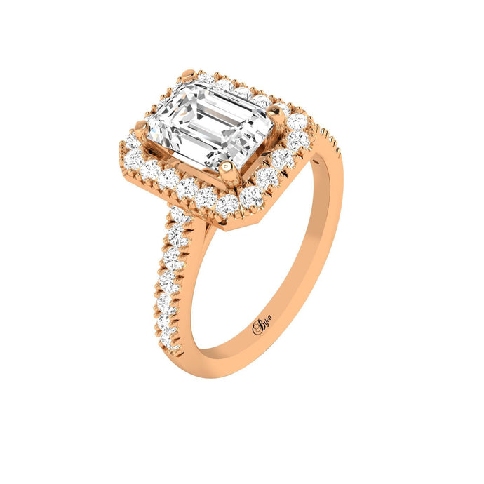 14 Karat Gold Emerald Cut Diamond Halo Engagement Ring