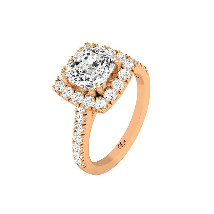 14 Karat Gold Cushion Cut Diamond Halo Engagement Ring