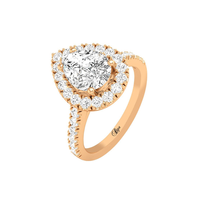 14 Karat Gold Pear Cut Diamond Halo Engagement Ring