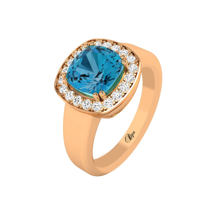 14 Karat Gold Diamond and Gemstone Ring