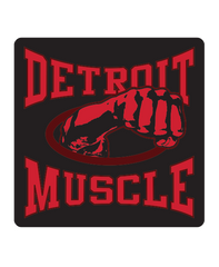 Muscle Fist Sticker - Black w/ Red