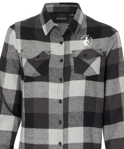 Women's Long Sleeve Flannel- Black/Gray Buffalo