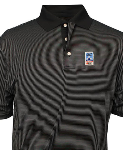 Grand Prix Black Striped Performance Polo