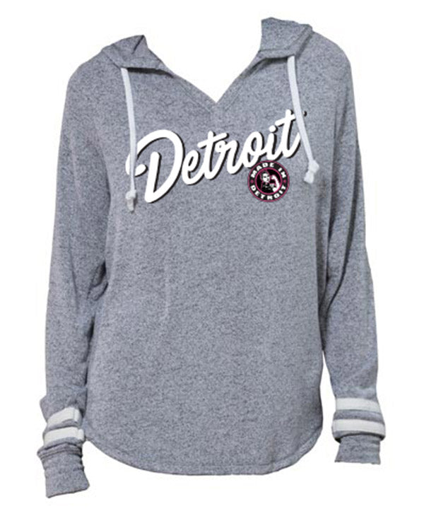 Made In Detroit - Detroit Rosie Script Pullover Fleece Hoodie - Heather Grey