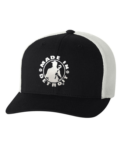 MID Flexfit Fitted Meshback Cap - Black & White w/ White