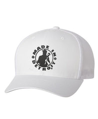 MID Flexfit Fitted Meshback Cap - White with Black