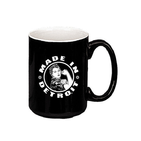 Rosie the Riveter/Motor City Girl 2 Tone Mug - Black w/ White Inside