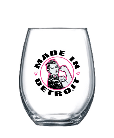 Rosie Stemless Wine Glass - Pink & Black Logo