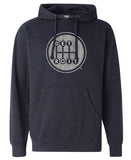 Heather Navy Pullover Hoodie with Detroit Shifter Print in Grey and White