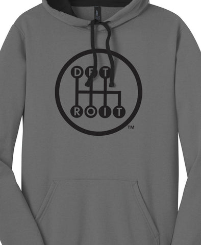Detroit Shifter design printed in black on gray hoodie with black lined hood.