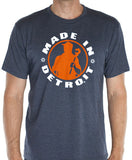 Made In Detroit wrenchman design on Heather Navy T-shirt