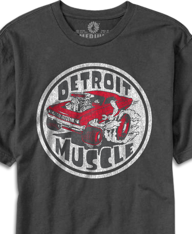 Detroit Muscle Roach design printed on Smoke T-shirt