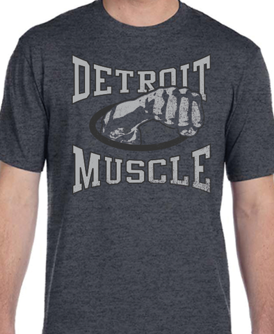 Joe Louis Detroit Muscle Dark Heather Gray T-shirt