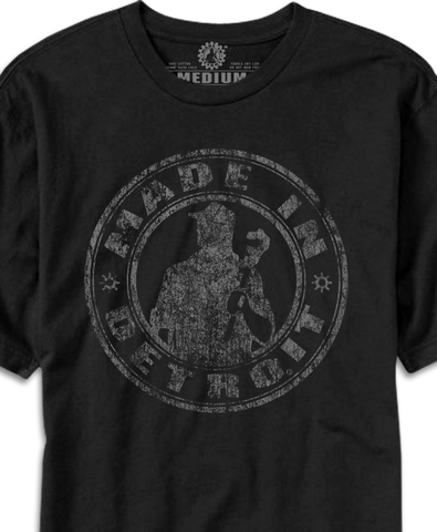 Made In Detroit Wrenchman distressed design printed on Black T-shirt.