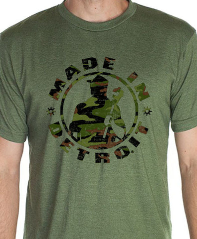 Made In Detroit Camo print on green shirt  wrenchman muscle car shirt car shirt detroit shifter