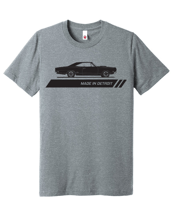 1969 Plymouth GTX Shirt Print in Black on heather Grey T-shirt